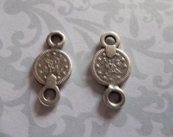 Double Link Small Sultan's Tughra Coin Connectors 2 Sided Ethnic Charms - Oxidized & Antiqued Sterling Silver Sterling Plated Pewter - Qty 6