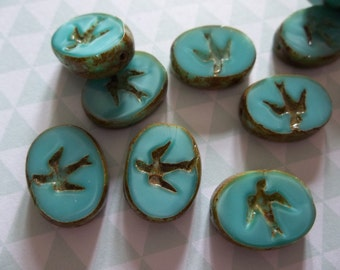 Designer Czech Glass Bird Beads - 16mm X 12mm - Opaque Turquoise Silk with Brown Picasso Rims -  Double Sided Table Cut Oval Beads - Qty 4