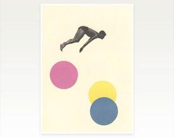 Mid Century Swimming Art, Retro Wall Decor, Pop Art Poster, Collage Print - High Dive
