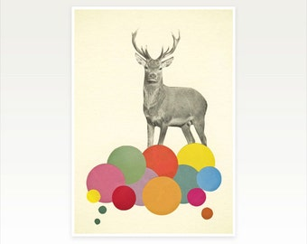 Kids Deer Art, Colourful Nursery Print, Retro Wall Art - A Stag in Heaven