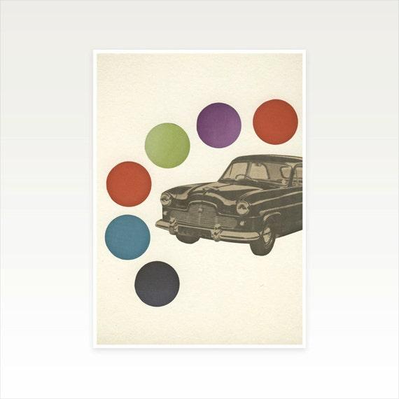 Car Art, Nursery Art, Kids Decor, Little Boy's Room, Gift for Man - Driving Around in Circles