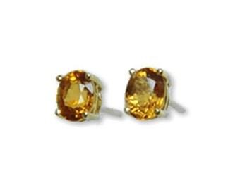 orange sapphire 14k gold earrings