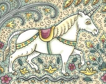 Medieval UNICORN and Serpent Fantasy Art ACEO sfa Susan Brack Ooak EBSQ