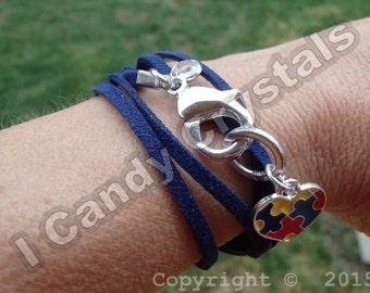 Autism Awareness Bracelet Puzzle Heart Faux Suede Bracelet