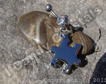 Autism Puzzle Piece Charm Belly Button Ring