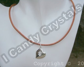Leather Autism Awareness Heart Puzzle Pendant