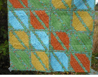 Lap Quilt Wall Hanging Tapestry Baby Crib Patchwork Quilted Fabric Lined Cotton Green Yellow Orange Blue Country Picnic Decor Cover Blanket