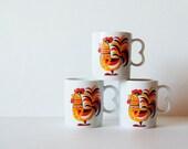 Vintage Set of 3 Rooster Mugs- Red and Orange