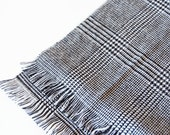 Vintage Black and White Houndstooth Scarf