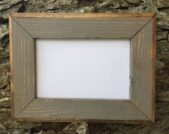 5x7 Picture Frame, Gray Rustic Weathered Style, Stained With Routed Edges, Wooden Frames, Rustic Home Decor, Rustic Frames