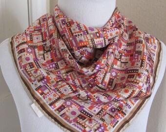 "Glentex // Beautiful Colorful So Soft Silk Scarf  // 21"" Inch 51cm Square"