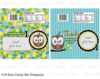 Printable DIY Owl First Birthday Birthday Full Size Candy Bar Wrappers - 2 designs personalized