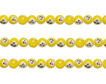 Round Millefiori Glass Beads With Face Design Yellow Black White Red 8mm 15 Inch Strand