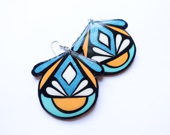 Large Handpainted Modern Turkish Floral Inspired Earrings In Metallic Turquoise, Mustard and Aqua