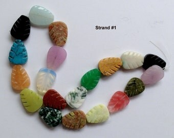 Multi Gemstone Leaf  Beads Full Strand 16""