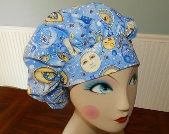 Celestial on Light Blue  Banded Bouffant Surgical Cap by Nurseheadwear Bakers Cap