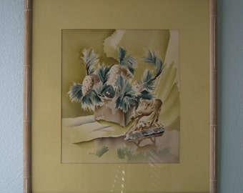 1940-50s Mid Century Watercolor Painting // Bamboo Frame // Signed // Labeled // Harris Genuine Airbrushed Watercolor // Large