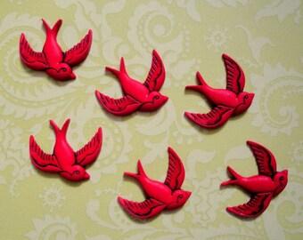 Retro Red Bird Cabochons 12pc
