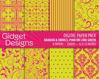 Lime Green and Pink Digital Paper Pack Pink and Lime Green Damask Patterns Scrapbook Paper Summer Digital Paper