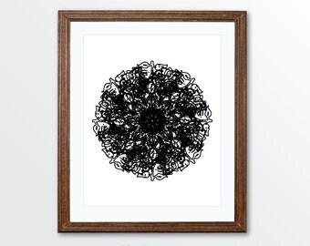 Flower Medallion Art Print - Mandala Art Print - Wall Art Modern Home - Circle - Black and White