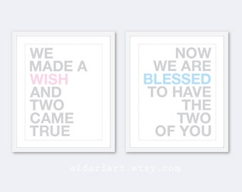 We Made A Wish And Two Came True - Blue Pink Grey Nursery Prints - Twins Nursery Decor - Twin Babies Shower Gift - Baby Nursery Quote Print