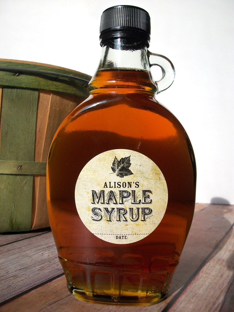 Custom Vintage Maple Syrup Bottle Labels By Canningcrafts