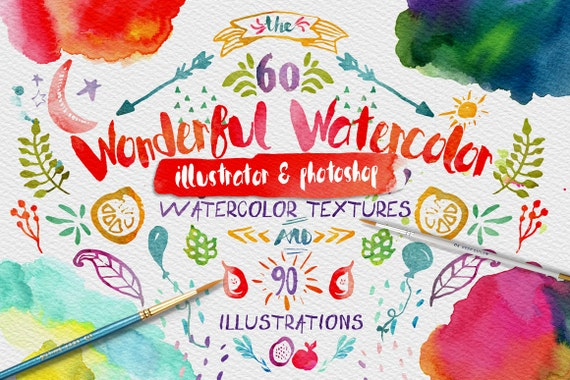 Wonderful Watercolor Digital Graphic Design Kit - Hand Painted Textures and Illustrations