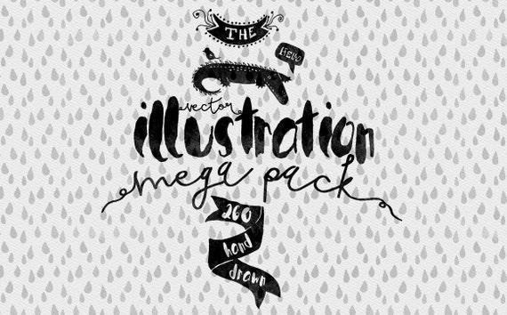 Vector Illustrations mega pack - Hand Drawn Clip art - Adobe Illustrator, PSD, PNG - Ready for Watercolor