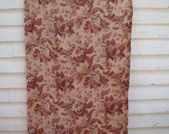 Vintage French Floral Cretonne Fabric. Large Antique Textile