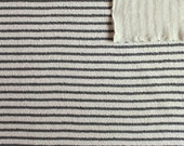Oatmeal Cream and Charcoal Grey Striped French Terry Knit Sweatshirt Fabric, 1 Yard OTB