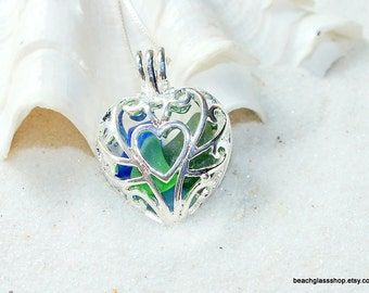 Sea Glass Heart Locket - Sterling Necklace - Sea Glass Necklace - Heart Necklace - Lake Erie Beach Glass