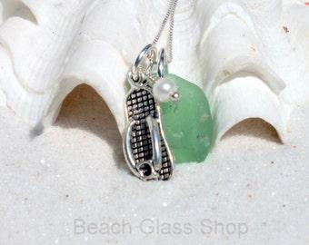 Sterling Sea Glass Necklace - Flip Flop Jewelry -  Lake Erie Beach Glass Jewelry