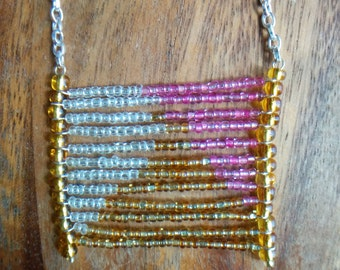 Pink, Gold and Clear Seed Bead Flag Necklace