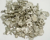 Charms Lot of 95 assortment - Silvertone - Supplies for jewelry making - cheesegrits