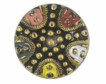 Czech Glass Button - Byzantium Style Hand Painted Vintage Czech Glass Button, 1.06 inch , Shank Button