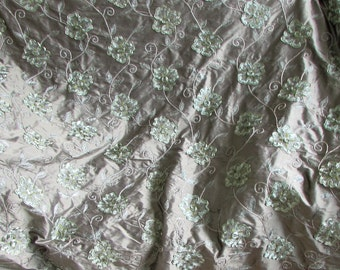ribbon embroidered  SILK 3 yard piece in sage green -exquisite ribbon appliqued