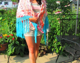 Neon Sherbet Handmade Crochet Shawl 60s Mod 70s Funky Psychedelic Pastel Sorbet Womens Small Petite Size S/XS Easter Cream Aqua Orange Pink