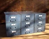 Set of 9 Vintage Industrial Metal Stacking Storage Drawers / Industrial Gray / Modular Storage Organization / Supplies Storage