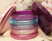 Vintage Translucent Pasterl Glitter & Asymmetrical Swirled Purple Bangle Stack Lot Pink Blue Triangular Spacer