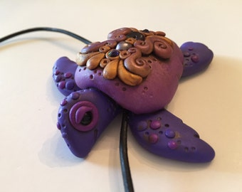 Polymer Clay Gold and Purple Turtle Necklace