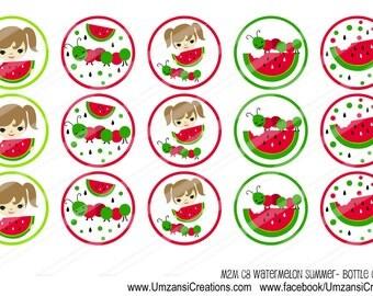 INSTANT DOWNLOAD-M2M Watermelon Summer-Circles-Bottlecaps