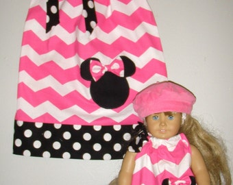 "Doll and me dress Matching American Girl doll dress Minnie Mouse Dress Pink chevron Disney 12 month 2t,3t,4t,5t,6,7 8, 10,12 to fit 18"" Doll"