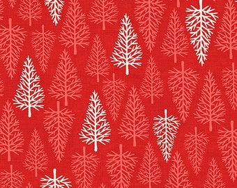 Scandi 2 Red Trees Christmas 2015 Andover Quilt Fabric by the 1/2 yd