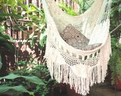 Beige Sitting Hammock with Fringe and Loose Threads, Hanging Chair Natural Cotton and Wood