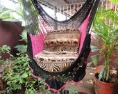 Black and Fuchsia Hanging Chair Natural Cotton and Wood plus Simple Fringe