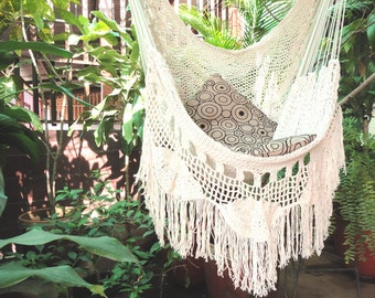 Hammock Chair White With Fringe And Loose Threads Hanging Natural Cotton