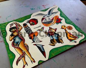Snake Handlers n Giraffes n Daggers Tattoo Flash
