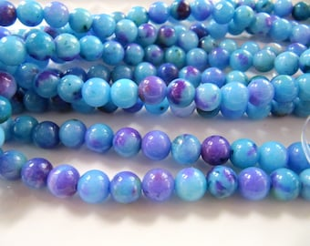 White JADE Beads in Light Blue, Purple and Green, Dyed, 6mm, Round, 1 Strand, Approx 68 Beads, GB658