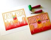 Original hand printed block print of East Nashville Skyline with Tomato