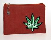 Paraphernalia pouch, weed pouch, cotton, marijuana charm, silver charm, marijuana leaf patch, marijuana leaf cotton lining, Ganja
